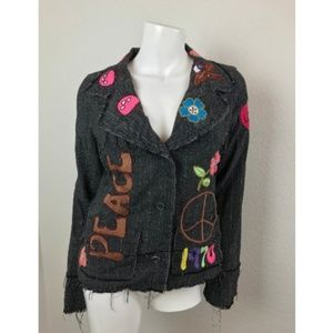 Lucca Gray Blazer Small Coat Frayed Patches Clown